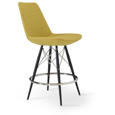 Eiffel 24 Bar Stool Finish: Natural Tubes / Chrome Wires, Upholstery: Turquoise Camira Wool