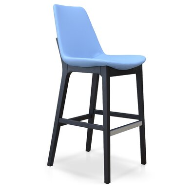 Eiffel 29 Bar Stool Leg Color: Wenge, Upholstery: Genuine Leather-Black
