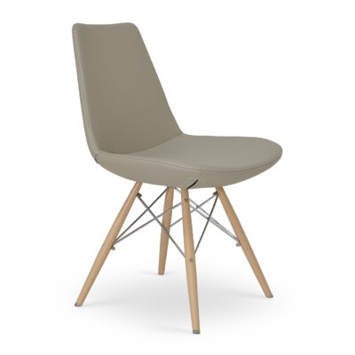 Eiffel MW Wood Side Chair Upholstery: Sky Blue Leatherette