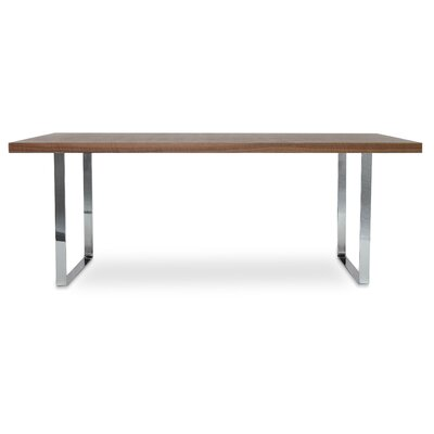 Bosphorus Dining Table Base Finish: Chrome, Top Finish: Walnut