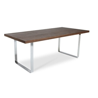 Bosphorus Dining Table Base Finish: Chrome, Top Finish: Wenge Oak