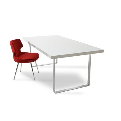 Bosphorus Dining Table Base Finish: Chrome, Top Finish: White Lacquer