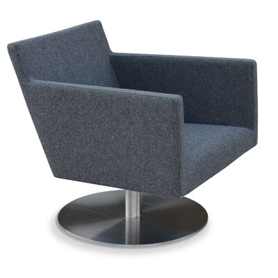 Harput Swivel Round Armchair Upholstery: Dark Grey