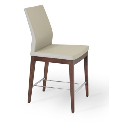 Pasha 24 Bar Stool Finish: Walnut, Upholstery: Black Genuine Leather