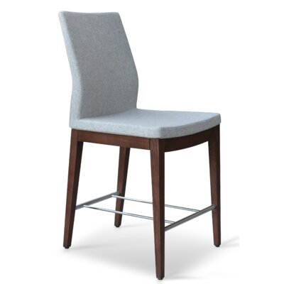 Pasha 24 inch Bar Stool Finish: Walnut, Upholstery: Silver Camira Wool