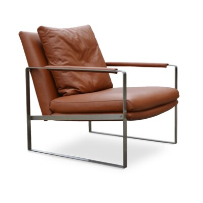 Zara Gold Upholstery: Amber Leather, Frame Finish: Stainless Steel
