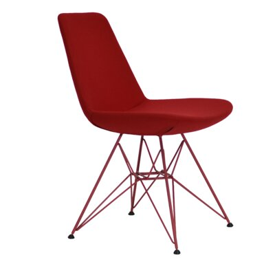 Eiffel Tower Genuine Leather Upholstered Dining Chair Frame Color: Red, Upholstery Color: Red