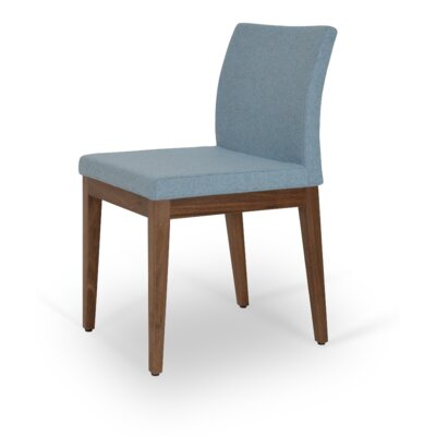 Aria Upholstered Dining Chair Upholstery Color: Dark Gray, Leg Color: Walnut