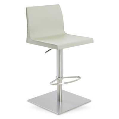 Polo Adjustable Height Swivel Bar Stool Seat Color: Light Brown, Base Finish: Stainless Steel