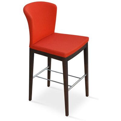 Capri Bar Stool Upholstery: Italian PPM - Bone, Finish: Walnut