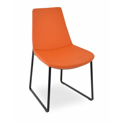 Eiffel Upholstered Dining Chair Upholstery Color: Leatherette Light Grey, Leg Color: Black Powder
