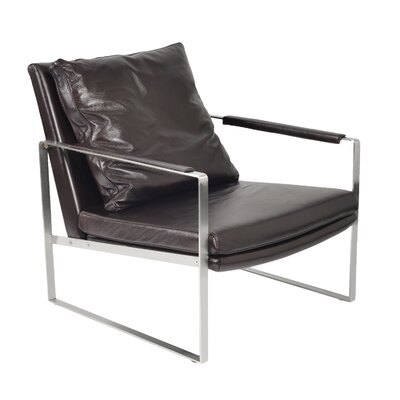 Zara Armchair Color: Brown, Upholstery Type: Genuine Leather