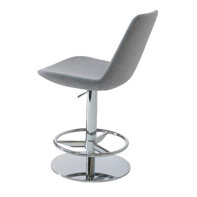 Eiffel Adjustable Height Swivel Bar Stool Upholstery: Dark Grey, Finish: Chrome