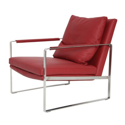 Zara Armchair Color: Red, Upholstery Type: PPM Leatherette