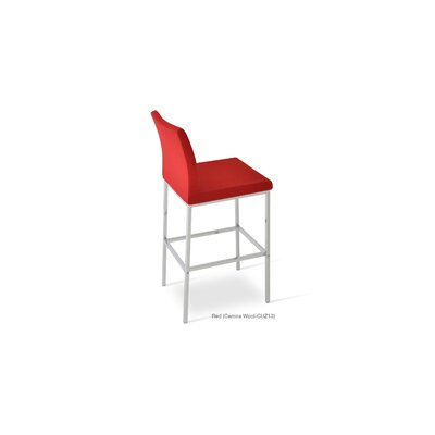 Aria 29 Bar Stool Upholstery: Wool-Red