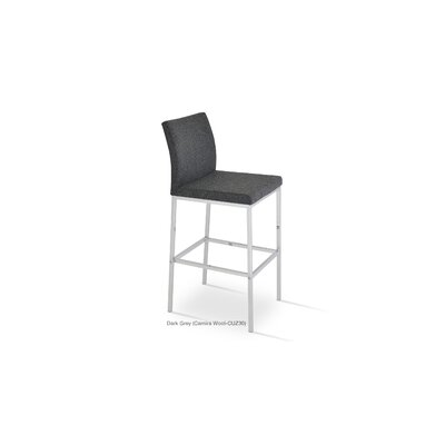 Aria 29 Bar Stool Upholstery: Wool-Dark Gray