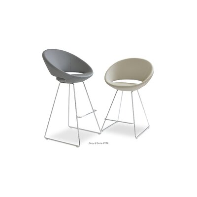 Crescent 24 Bar Stool Upholstery: Leatherette-White
