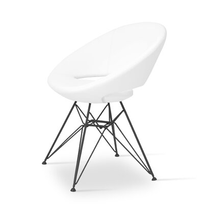 Crescent Side Chair in Leather - Black Finish: White Steel