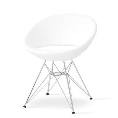 Crescent Side Chair in Leather - Black Finish: Chrome
