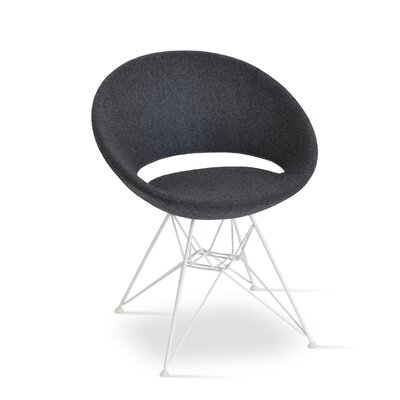 Crescent Barrel Chair Upholstery: Charcoal, Finish: White Steel