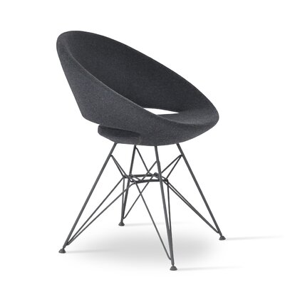 Crescent Side Chair Upholstery: Dark Grey, Finish: Black Steel