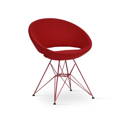 Crescent Barrel Chair Upholstery: Red, Finish: Red Steel