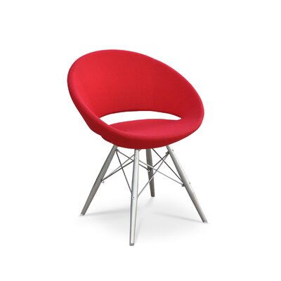 sohoConcept Crescent MW Chair - Tubes/Wires Finish: Natural/Black, Color: Red, Upholstery: Leatherette