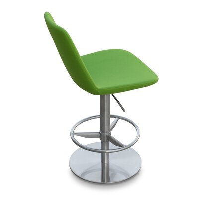 Eiffel Adjustable Height Swivel Bar Stool Finish: Stainless Steel, Upholstery: Pistachio (Green)