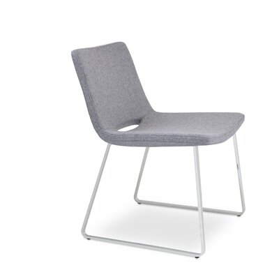 Nevada Side Chair Finish: Chrome, Upholstery: Light Grey Wool