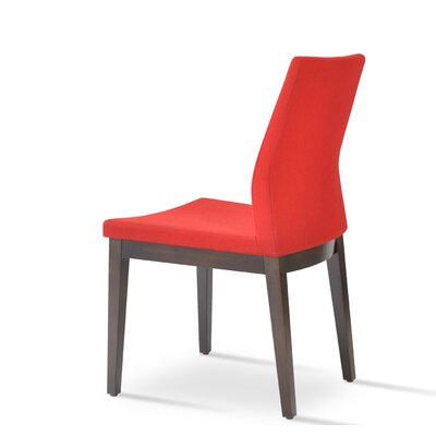 Pasha Side Chair in Leatherette Upholstery Color: Red, Frame Color: Wenge