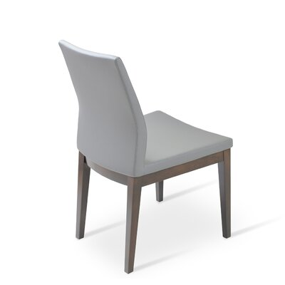 Pasha Side Chair in Leather Upholstery Color: Black, Frame Color: Walnut