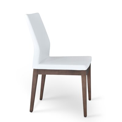 Pasha Side Chair in Leatherette Upholstery Color: White, Frame Color: Walnut