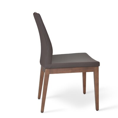 Pasha Side Chair in Leatherette Upholstery Color: Brown, Frame Color: Walnut