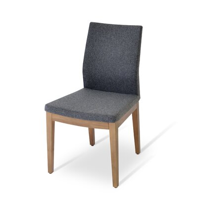 Pasha Side Chair in Leatherette Upholstery Color: Black, Frame Color: Walnut