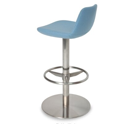 Pera Adjustable Height Swivel Bar Stool Finish: Brushed Stainless Steel, Upholstery: Sky