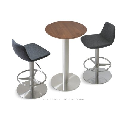 Pera Adjustable Height Swivel Bar Stool Finish: Chrome, Upholstery: Organic Wool Fabric - Dark Grey