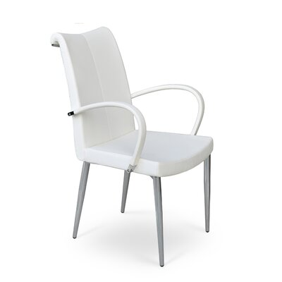 Tulip Arm Chair Upholstery: Leatherette-PPM - White