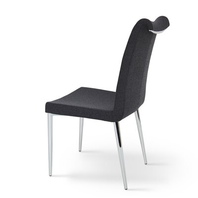 Lale Genuine Leather Upholstered Dining Chair Color: Dark Grey