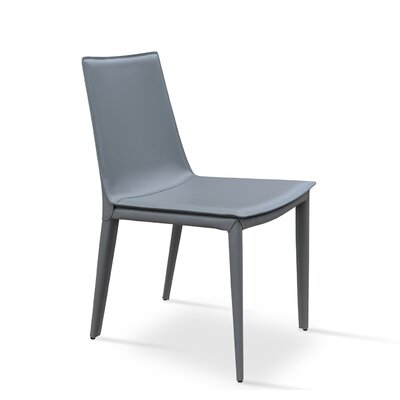 Tiffany Leather Side Chair Upholstery: Grey