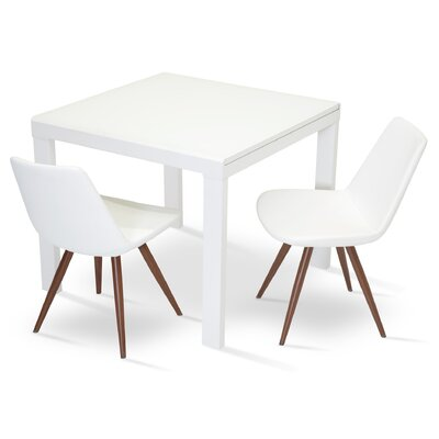 Eiffel Star Genuine Leather Upholstered Dining Chair in White Leatherette Color: Wenge Veneer Steel