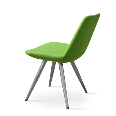 Eiffel Star Genuine Leather Upholstered Dining Chair in Green Leatherette Color: Natural Veneer Steel