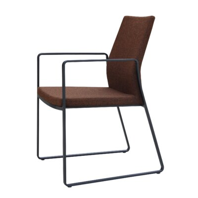 Pasha Slide Upholstered Dining Chair Leg Color: Black, Upholstery Color: Leatherette Brown