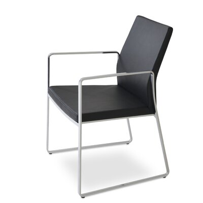 Pasha Slide Upholstered Dining Chair Leg Color: Chrome, Upholstery Color: Leatherette Black