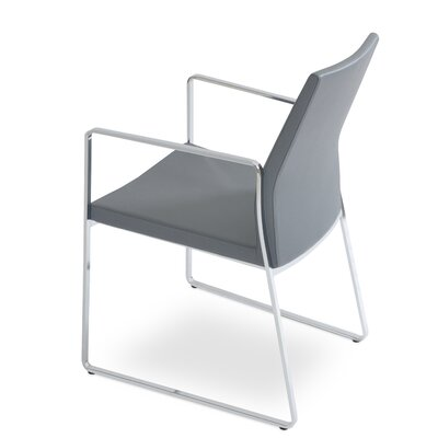 Pasha Slide Upholstered Dining Chair Leg Color: Chrome, Upholstery Color: Dark Gray