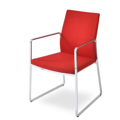 Pasha Slide Upholstered Dining Chair Leg Color: Chrome, Upholstery Color: Red