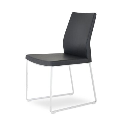 Pasha Slide Genuine Leather Upholstered Dining Chair in Black Genuine Leather