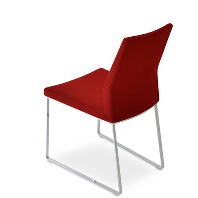 Pasha Slide Upholstered Dining Chair Color: Red