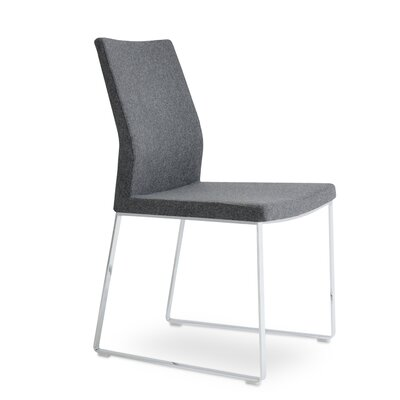 Pasha Slide Side Chair Upholstery: Dark Gray Wool