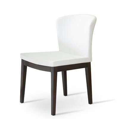 Capri Upholstered Dining Chair Upholstery Color: Silver, Frame Color: Walnut