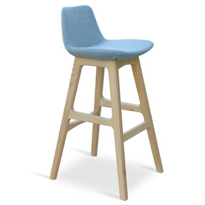 Pera 24 Bar Stool Leg Color: Ash Wood Natural, Upholstery: Camira Wool-Sky Blue
